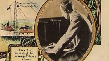 Ernest Fisk receiving PM Billy Hughe's message, 1918.