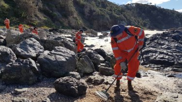 SES volunteers searched Rocky Beach on July 15 following the discovery of a fourth bone.