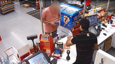 Mohammed Ibrahim at a 7-Eleven store in Kew in the minutes after he stabbed a PSO, a Hawthorn woman and killed Sally-Anne Wills onMarch 10, 2020.