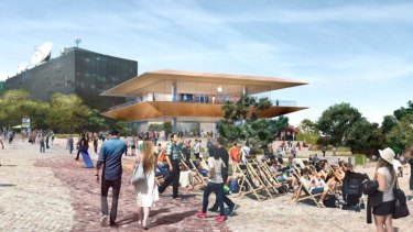 The initial design for an Apple flagship store at Federation Square that sparked an outcry from the public.