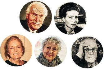 Do canto superior esquerdo, no sentido horário: Carl Jung, Simone de Beauvoir, Henri Matisse, Germaine Greer e Gloria Steinem.