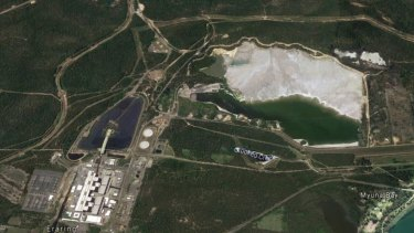 Eraring power station, lower left, with the existing white ash dam to the upper right of the image.