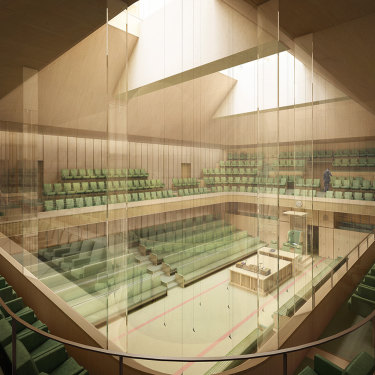 An artist's impression of the temporary Commons chamber that Lendlease would build at Richmond House.