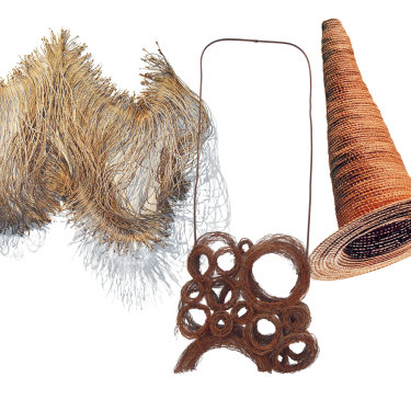 From left: Spirit Woman, a 1.25-metre wide work by Tracey Deep; Lorraine Connelly-Northey's Narbong (String Bag); Yvonne Koolmatrie's Eel Trap, 1997, which was shown at the Venice Biennale.