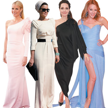 Ultra-wealthy fans of Ralph & Russo include (from left) Gwyneth Paltrow, Sheikha Moza bint Nasser, Angelina Jolie, and Kylie Minogue.