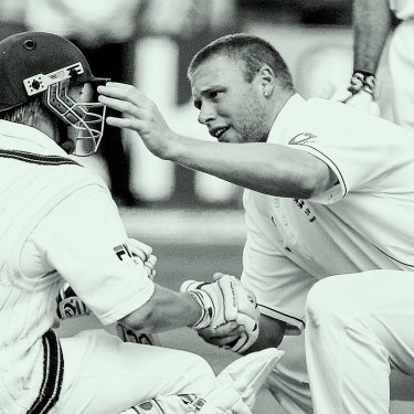 Andrew Flintoff consoles Brett Lee after Australia's loss to England at Edgbaston in 2005.