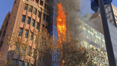 The fire at a construction site on Macquarie Street.
