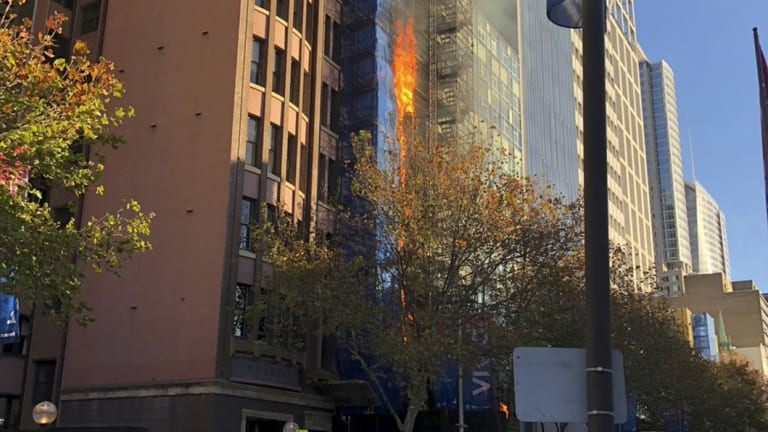 The blaze was quickly under control, but Macquarie Street remained closed to cars and pedestrians.