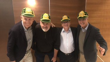 Greg Growden, pictured in 2018 with other long-serving rugby journalists (from left) Jim Tucker, Wayne Smith and Gordon Bray.
