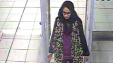 London teenager Shamima Begum pictured at London's Heathrow Airport when making her way to join Islamic State in 2015.