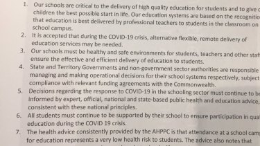 A document from the Prime Minister's office showing a list of seven national principles for theeducational response to coronavirus.