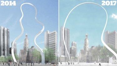 Cloud Arch sculpture 2014 vs 2017.