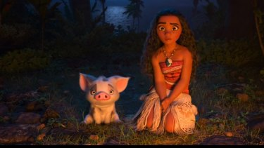 Moana saves the day when the male characters fail to do so.