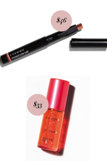 By Terry Twist-On Lip, $46. Clarins Water Lip Stain in Rose Water, $33.