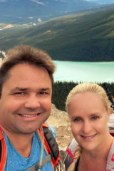 Tammy Kaufman and husband Carl on a post-lockdown trip to Lake Louise in Canada's Banff National Park.