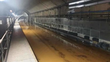 A photograph understood to be Sydney's flooded Metro network.