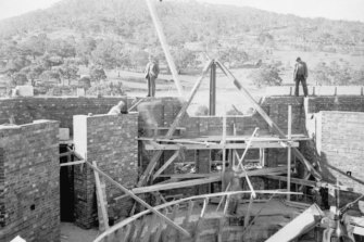 Construction on the war memorial.