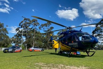 The CareFlight helicopter landed at Melwood Oval about 1.30pm on Friday.