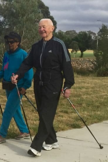Tom Ryan, of Ainslie, is a keen nordic walker, at the age of 92.