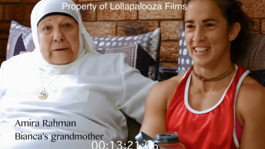 Bianca and her grandmother captured in a still from Bam Bam.
