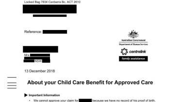 Centrelink's letter to Kim in December.