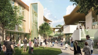 Artists' impressions of Brisbane's new Inner City North Secondary College near the RNA Showgrounds.