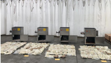 The ecstasy was concealed in four industrial mincing machines, police said.