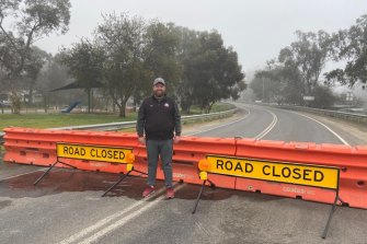 Barmah publican Mat Gissing at the previously unmanned Barmah Bridge barriers.