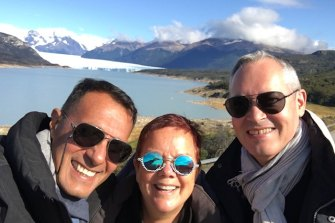 (L-R) Antony Philip, Jan Richards and Pascal Le Votin Patagonia the day before flying to Ushuaia, Argentina, to join the ill-fated Greg Mortimer cruise ship.
