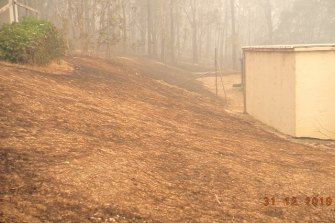 The back of Jacqui and Ron Thompson's shelter where they rode out the fires.