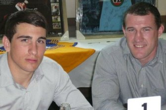 Paul Gallen with a young Jack Bird at at a fundraiser for the then teenager after he was diagnosed with rheumatoid arthritis in 2012.