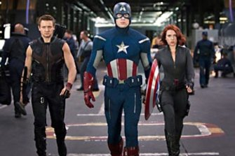 Hawkeye (Jeremy Renner), Captain America (Chris Evans) and Black Widow (Scarlett Johansson).