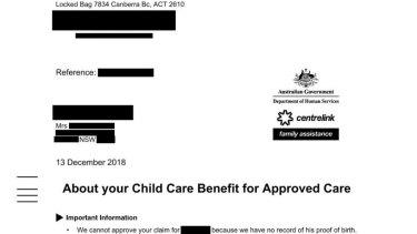 Centrelink's letter to Kim in December.
