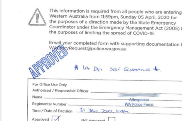 An excerpt from an exemption received by a FIFO worker to enter WA.