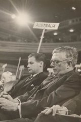 """Then Australian foreign minister H. V. """"Doc"""" Evatt (right) at a UN executive meeting."""