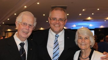 Prime Minister Scott Morrison with his parents John and Marion.