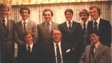 Young Liberals (including Peter Costello and Eric Abetz) with then prime minister Malcolm Fraser in 1978.