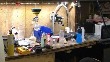 An alleged clandestine methamphetamine lab found by police in a Mawson home.