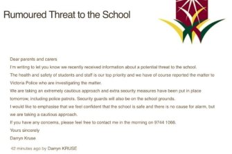 A letter notifying the school's parents of the threat.