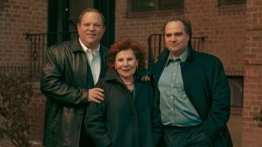 Brothers Harvey and Bob Weinstein with their mother Miriam in Queens, New York in 2003.