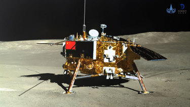 Image of the Chang'e-4 lander taken by the panoramic camera on the Jade Rabbit rover.