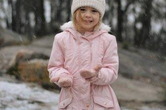 Caitlin Lancaster enjoys the snow on Queensland's Granite Belt on June 4.