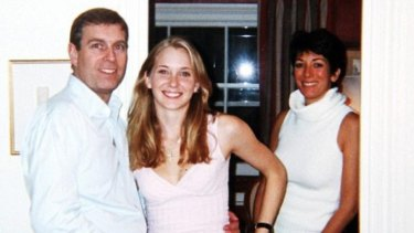 Prince Andrew pictured with Virginia Roberts in 2001 at Ghislaine Maxwell's townhouse.