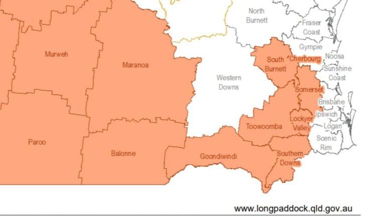 This map shows how close the drought conditions are to the south-east corner of the state.