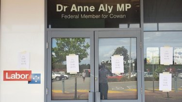 "Cowan MP Anne Aly's electorate office was targeted overnight with posters bearing the slogan ""It's okay to be white""."