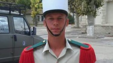 Williams in the distinctive cap of the French Foreign Legion in Nimes, in 2011. He passed the notoriously tough training only to be wrongly accused of sexual assault.