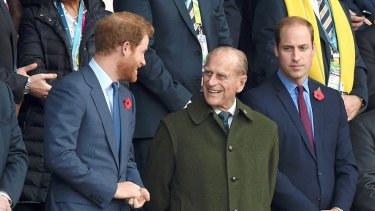 Prince Harry with Prince Philip in 2015.