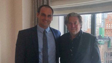 Brazilian congressman Eduardo Bolsonaro, left, meets with Steve Bannon in New York in the lead up to his father's presidential election win in 2018.