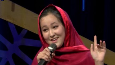 ahra Elham, the first woman to win Afghan Star, a television reality show based upon 'American Idol'.