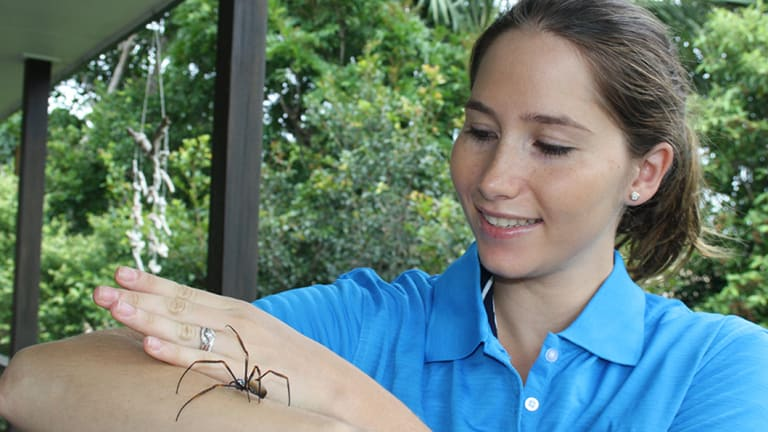 Genevieve Kerr and a golden orb weaver spider.